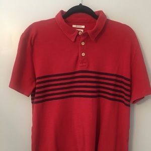 Lucky Brand Pacific Polo Red Blue Stripes Large